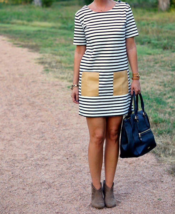 Black and white stripe dress with ankle boots