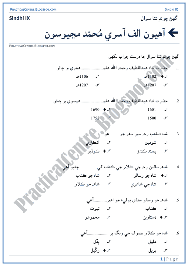 allah-kay-saharay-multiple-choice-questions-sindhi-notes-ix