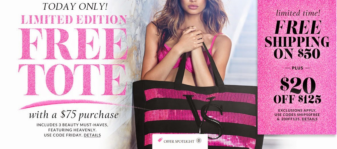 Through (3/12) only, head on over to Victoria's Secret where you can snag a super stylish Victoria's Secret Sexy Illusions Tote for FREE! Simply purchase $75 worth of product and then enter the promo code TOTEVS75 at checkout. You can also score this in-stores as well.