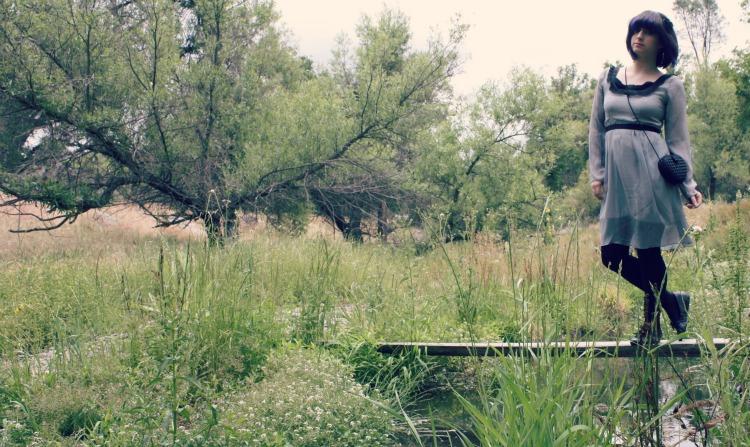 girl grey black vintage dress bridge in field