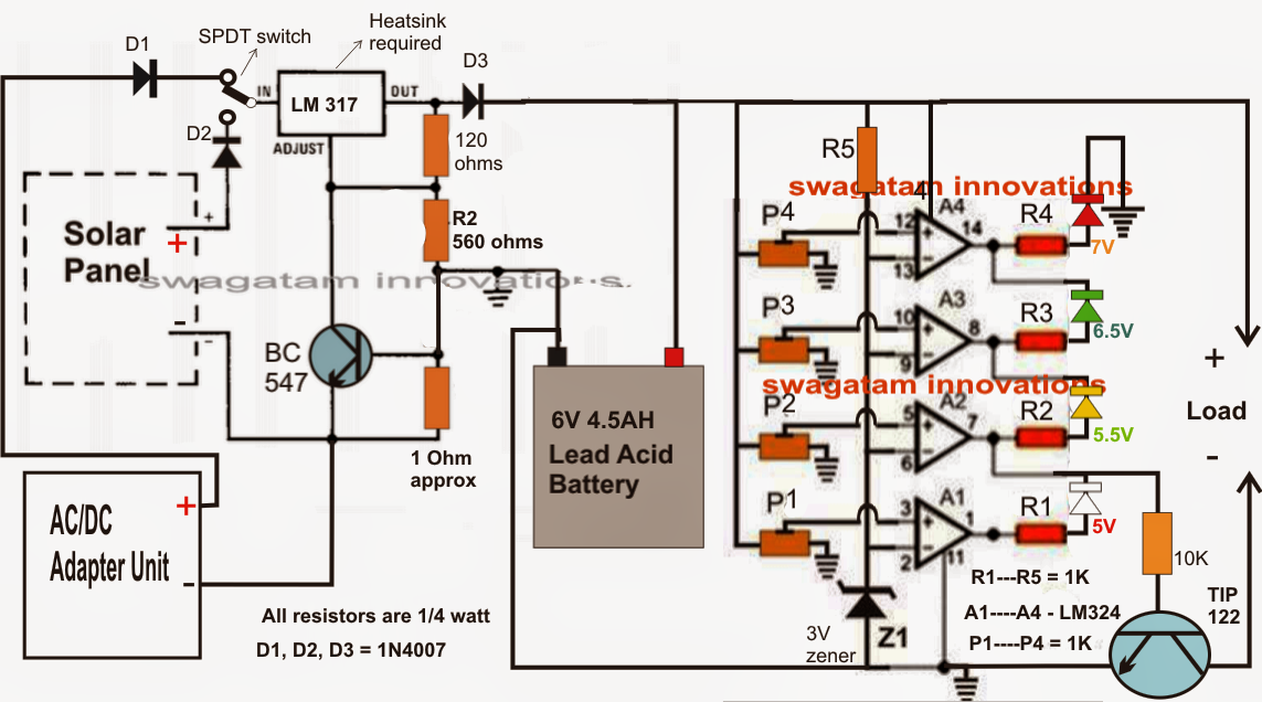 6v solar battery charger circuit electronic circuit projects
