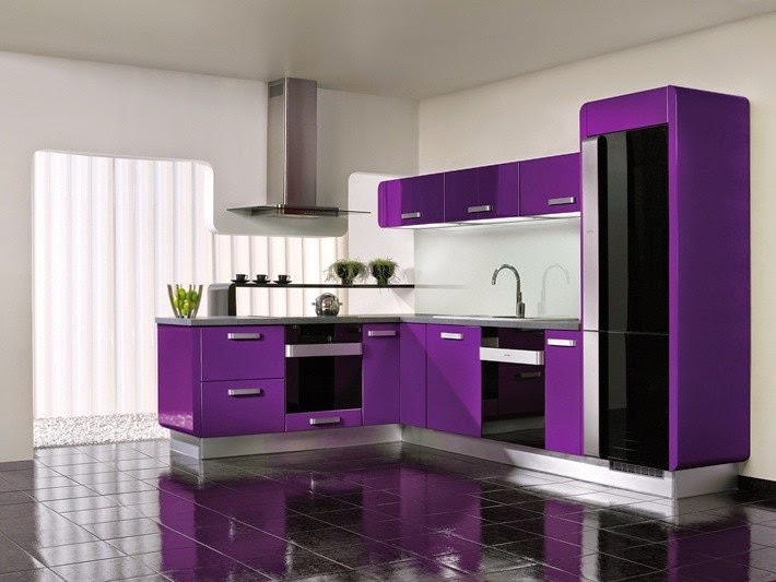 Dapur ungu elegan dan mempesona, ide dapur, dapur sederhana