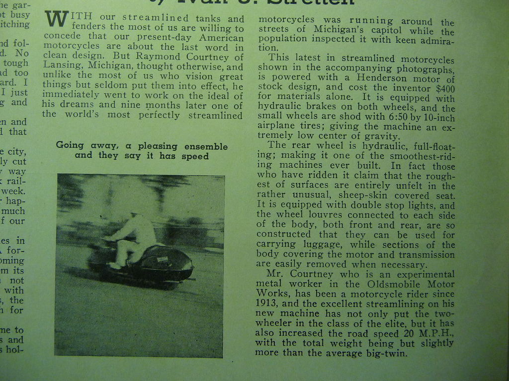 Henderson KJ featured in 1935 Motorcyclist Magazine