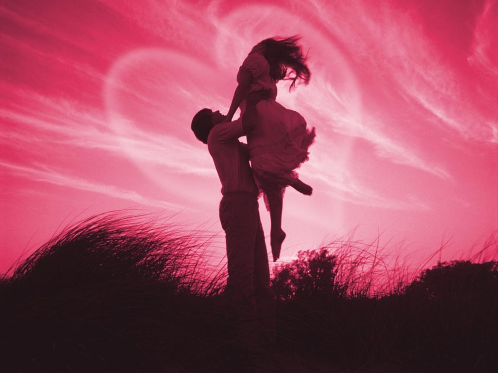 carrying a girl with love in pick heart and background - Romantic Love ...