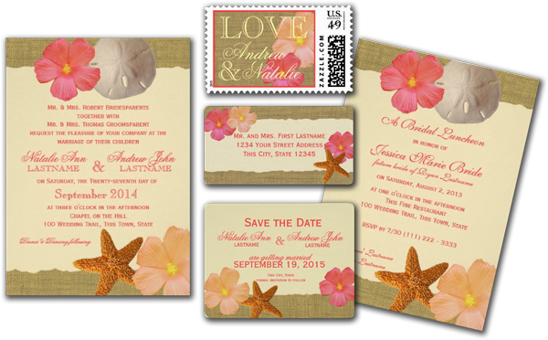 Tropical Beach Rustic Wedding Personalized Invitation