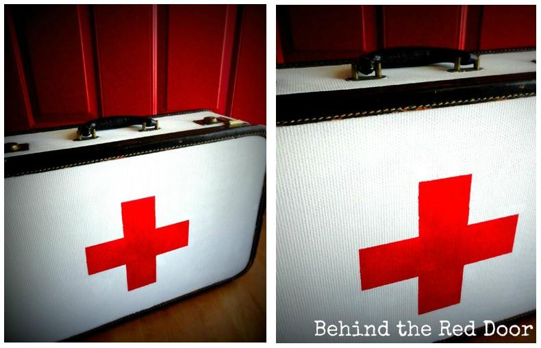 Red Vintage Suitcase Red Cross Inspired Vintage