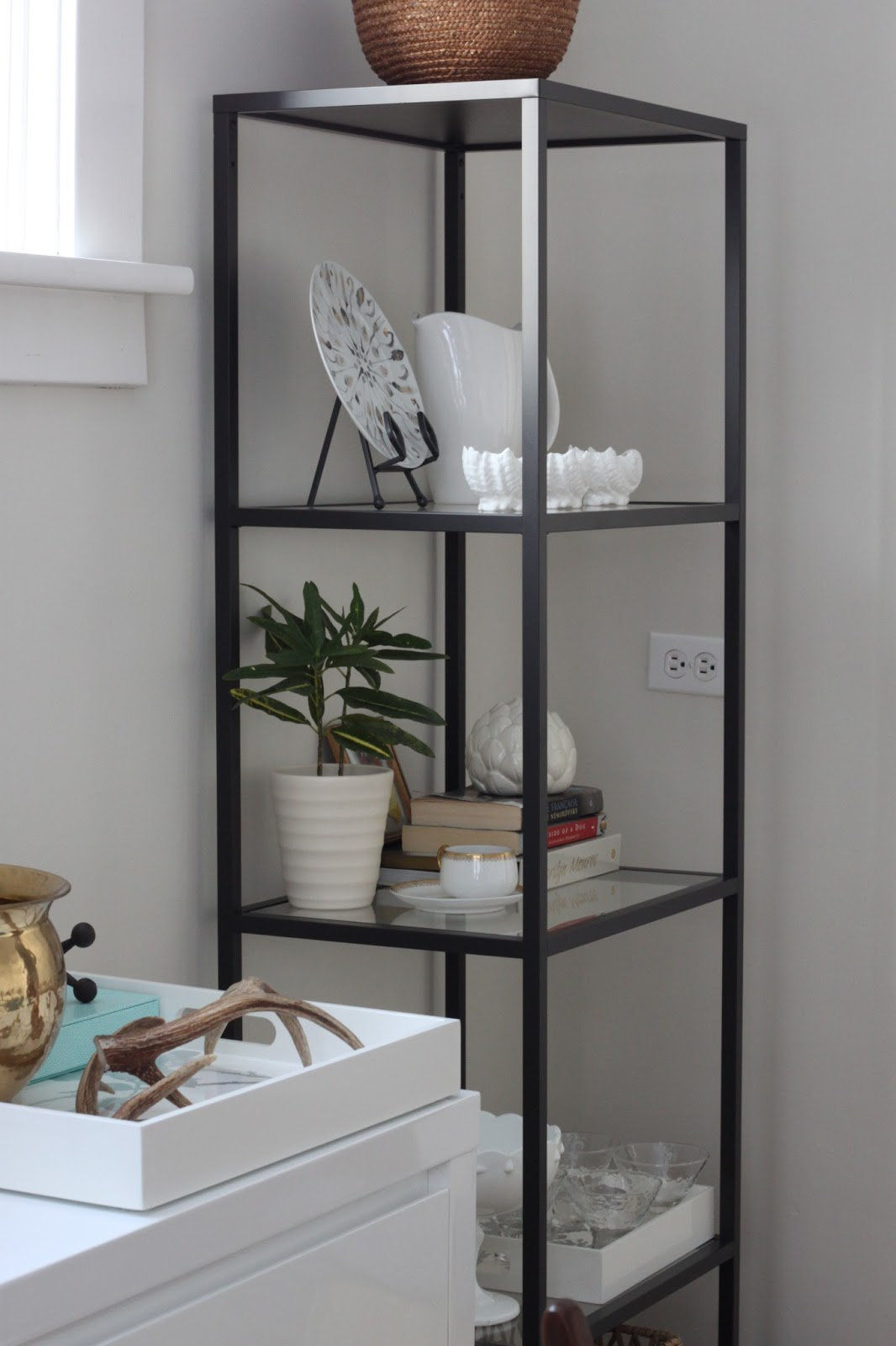 Modern jane dining room vittsjo shelves for Dining room shelves