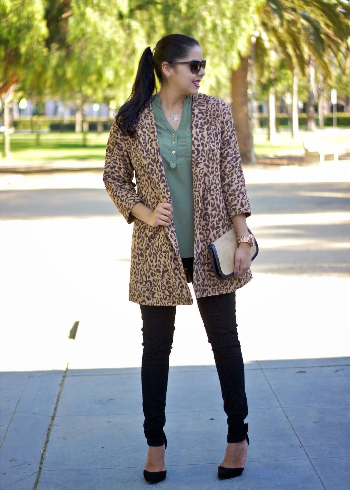 olive button up, how to wear olive in fall, green top with leopard, olive with leopard, burgundy with leopard, fashion time in the city, fashion week sd, fwsd