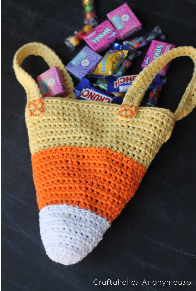 DIY Crochet Candy Corn Trick or Treat Bag