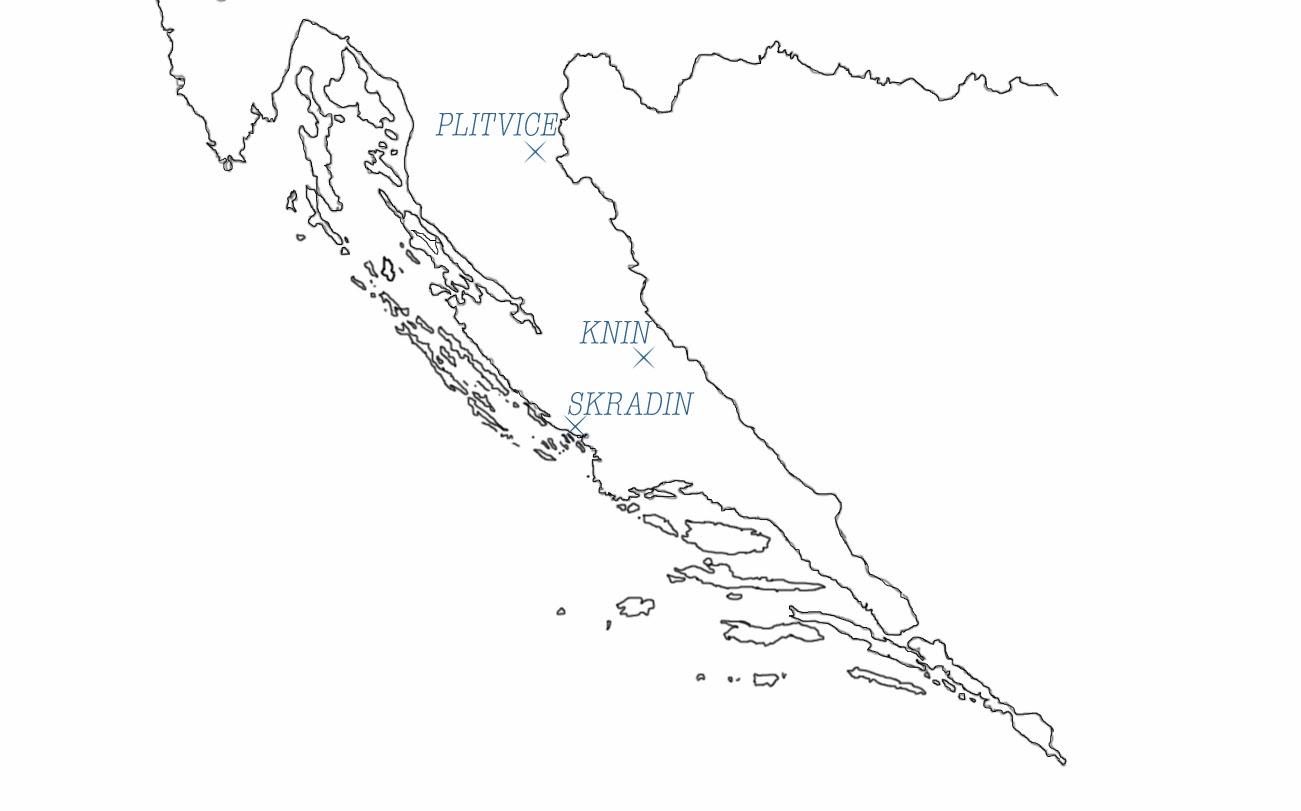 carte du sud de la croatie, lacs de plitvice