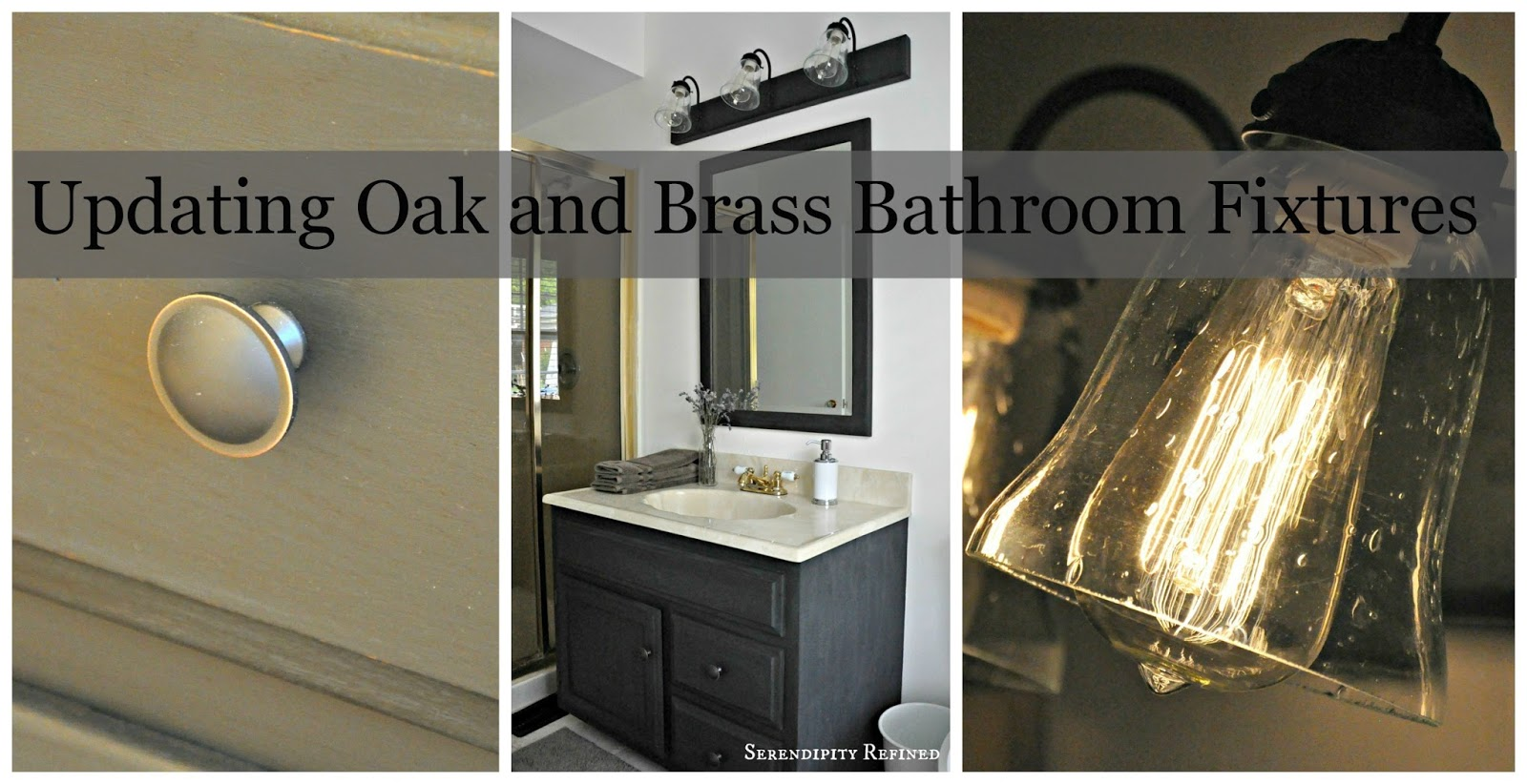 How to Update Oak and Brass Bathroom Fixtures With Spray Paint and Chalk  Paint. Serendipity Refined Blog  How to Update Oak and Brass Bathroom