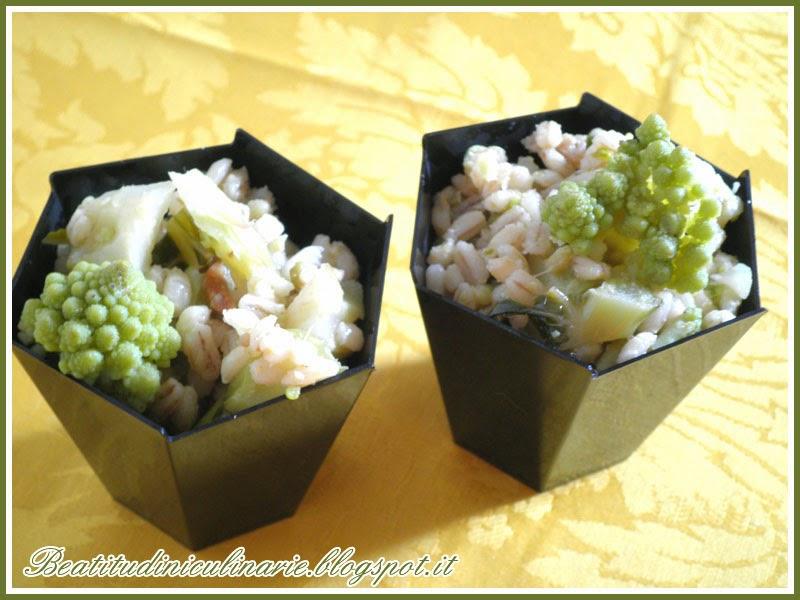 orzotto con broccolo romano e acciuga