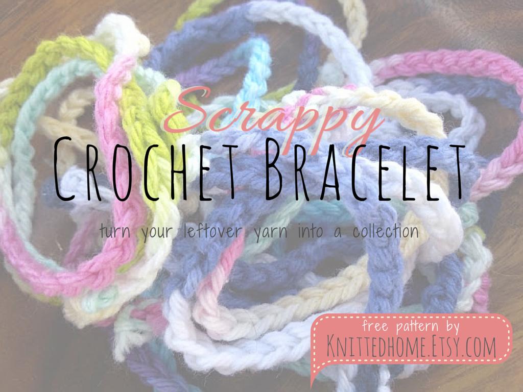 Crochet Bracelet from yarn scraps - free pattern | knittedhome.etsy.com