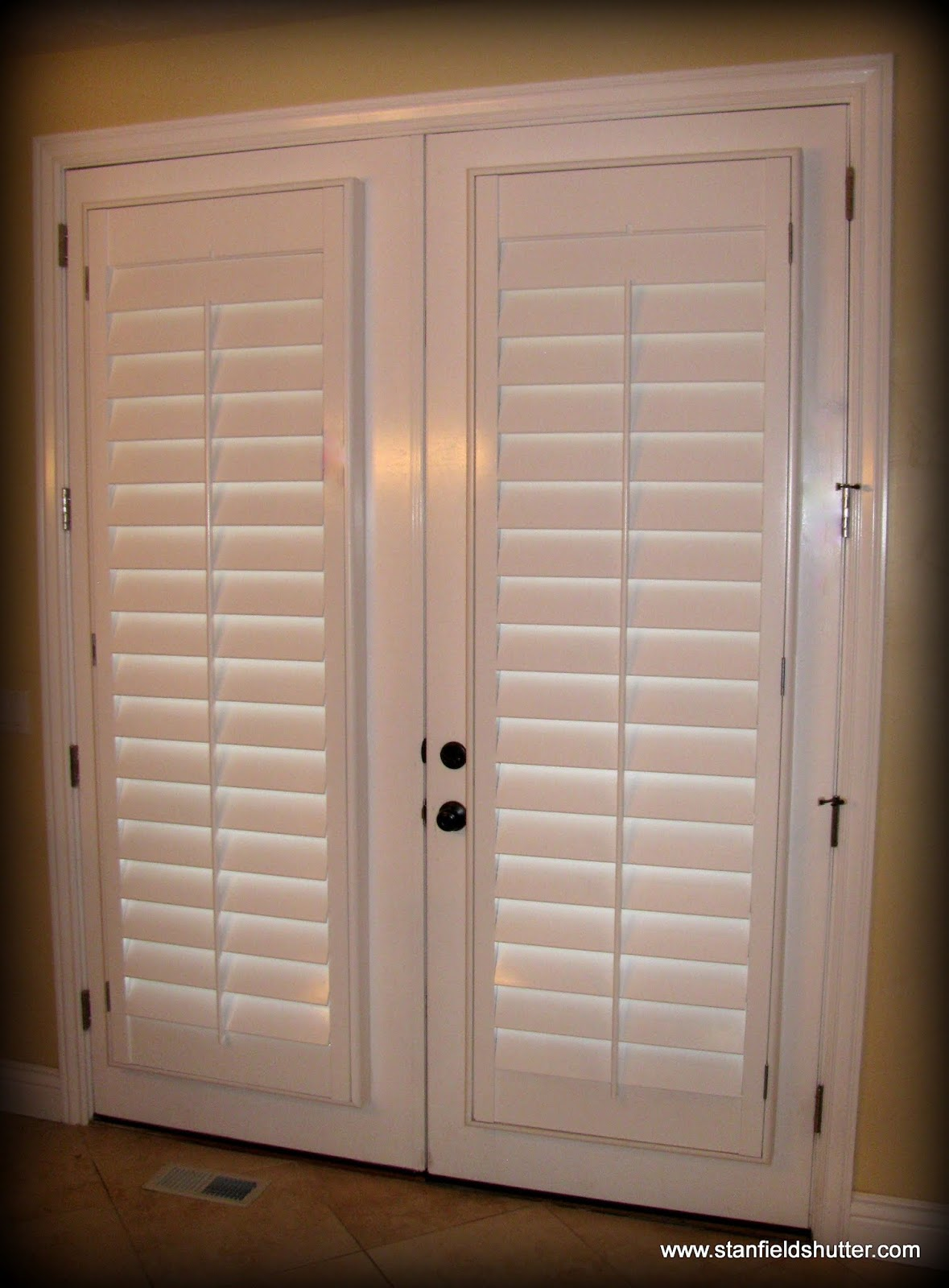 Plantation blinds for patio doors large size of bamboo for Plastic french doors