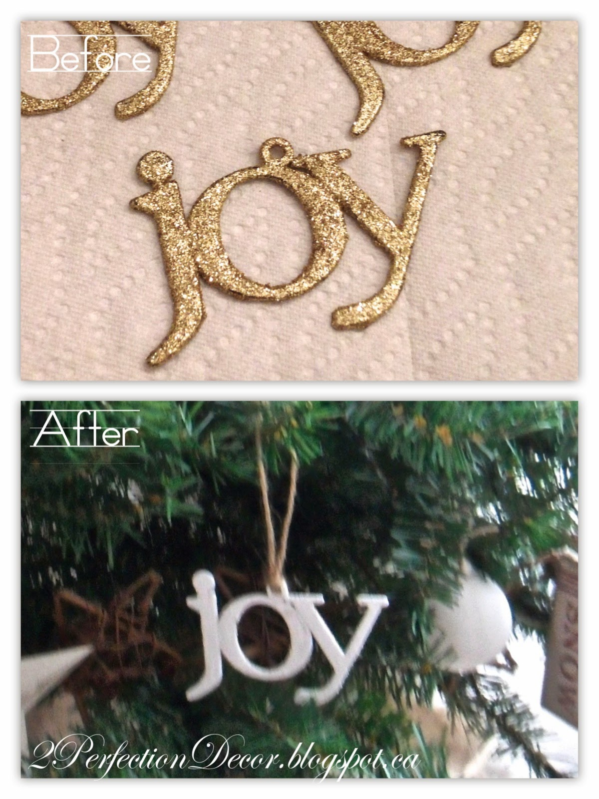 2Perfection Decor JOY Dollar Store Ornaments with a simple twist
