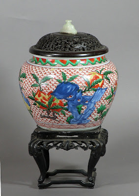 Ming To Kangxi Period Wucai and Underglaze Blue Jar, C. 1640