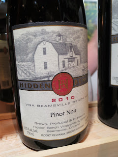 Wine Review of 2010 Hidden Bench Estate Pinot Noir from VQA Beamsville Bench, Ontario, Canada