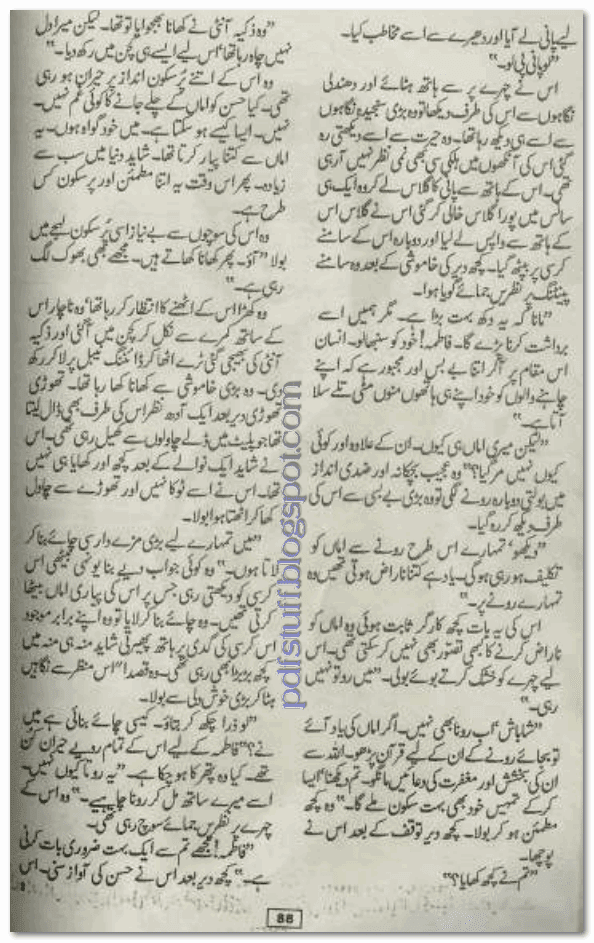 Sample page of Urdu novel Kab haath Mein Tera Haath Nahi by Farhat Ishtiaq