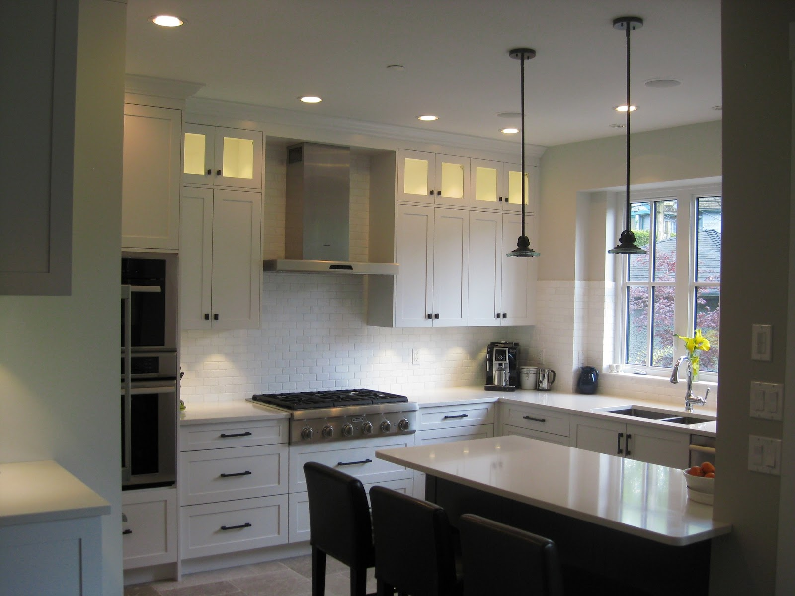 Painted While Kitchen With White Oak Peninsula