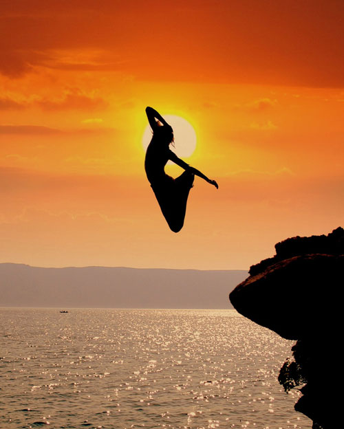 fearless cliff jump