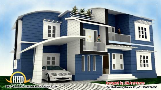 2 storey house elevation - 232 Sq. M (2492 Sq. Feet) - February 2012