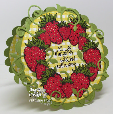 "ODBD ""Strawberries & Pickles"", ""Garden Sentiments"", ""Fancy Foliage Dies"", ""Gingham Background"" Card Designer Angie Crockett"