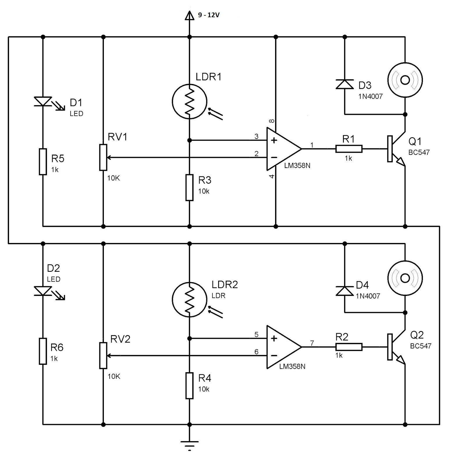 Hobby In Electronics Line Follower Robot Without Microcontroller Op Amp Comparator Circuits Outputs Of The Comparators Are Given To Transistors Which Wired As Switch Drive Motors Diodes D3 And D4 Provided Cancel