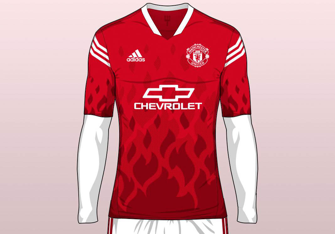 Design t shirt manchester united - Drawing Inspiration From The Red Devils The All New Manchester United Concept Jersey Boasts A Striking Fire Graphic Pattern On The Front And The Socks To