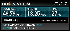 speedtest.netin nopeusmittauksen tulos download vajaa 50 megaa