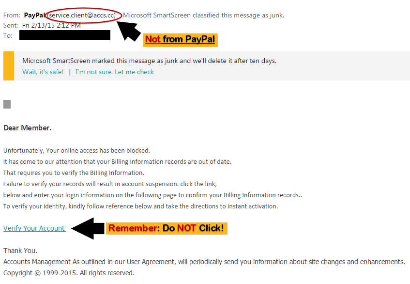 Scam Paypal Email Link