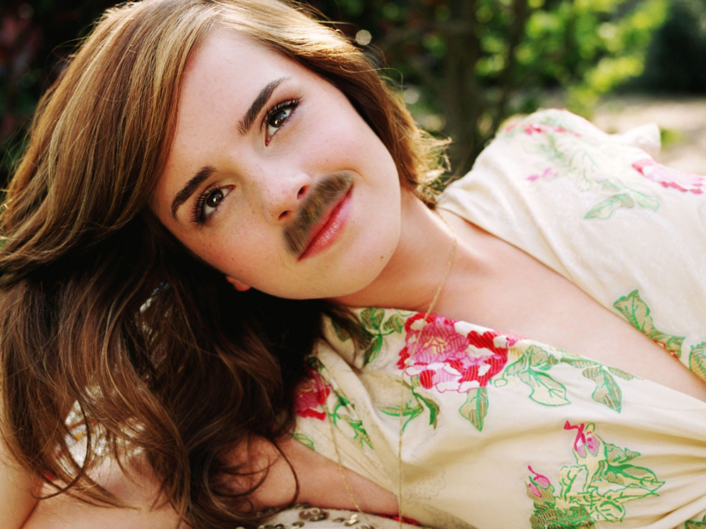 Celebrities With Mustaches Emma Watson