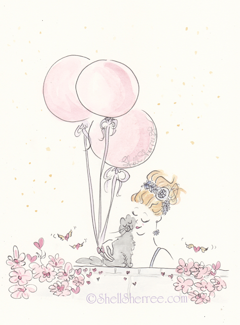 Fashion and Fluffballs illustration: Pink Balloons, Gold Dust and Kitty Cuddles © Shell-Sherree