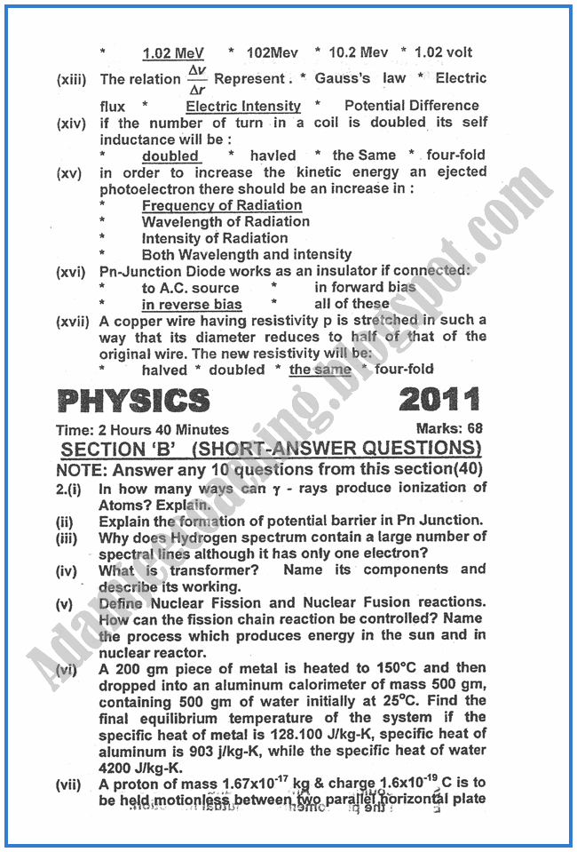 Physics-2011-past-year-paper-class-XII