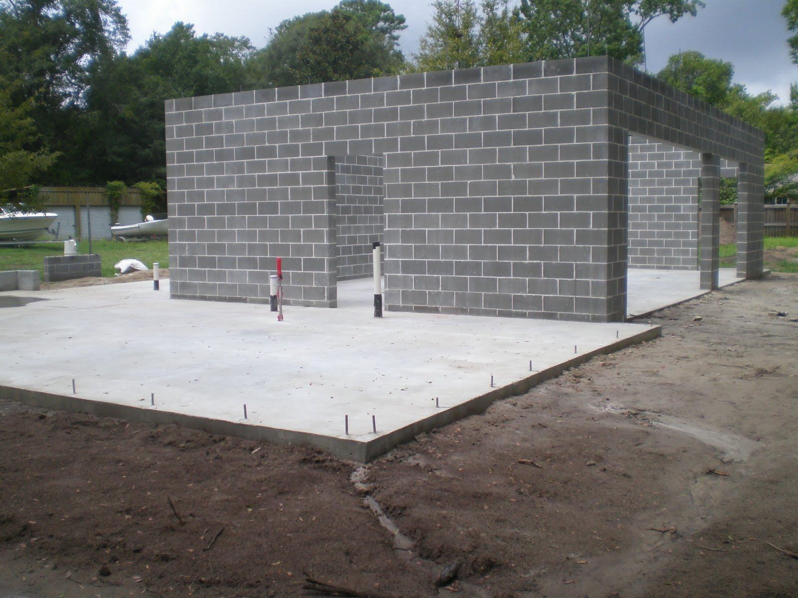 Charleston modern progress concrete cinderblock up for Concrete slab for garage