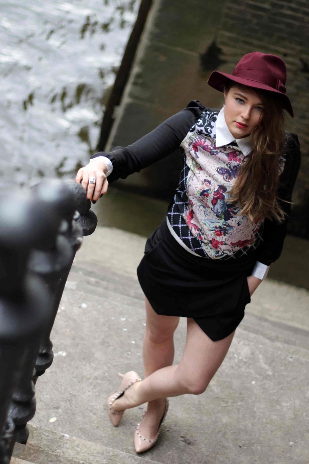 Lilac floppy hat, Hut, black Zara skort, schwarze skorts, Barock shirt, beste deutsche Modeblogger, best germantrend, 2013, fashion blogger, nude stud steve madden, hamburg, germany, harbor,