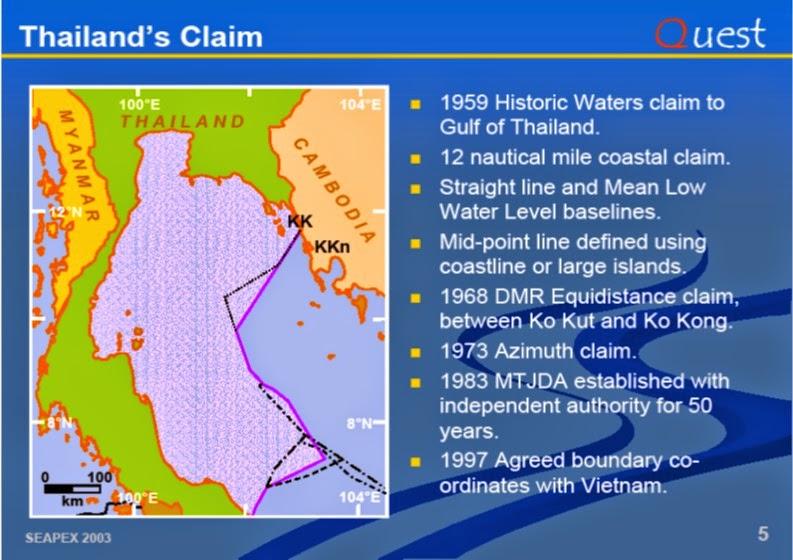 Ansprüche von Thailand im Golf von Thailand
