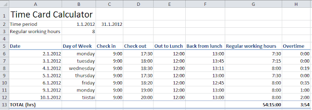 Time card calculator Excel tutorial - download free Excel spreadsheet