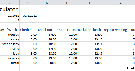 excel timecard calculator