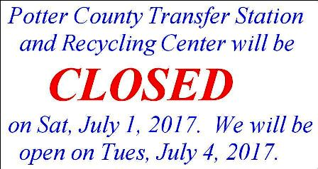 7-1/4 Holiday Hours at PC Transfer Station