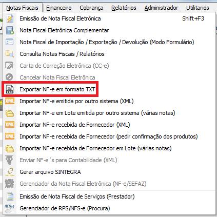NeXT ERP 1611 exportação TXT emissor gratuito SEFAZ