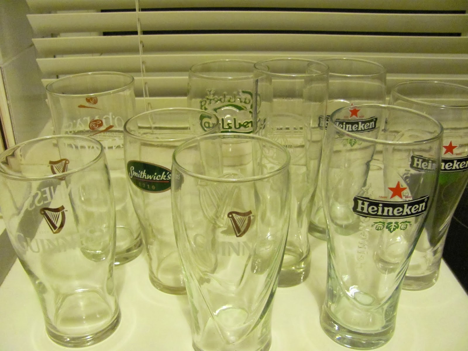 A variety of beer glasses found near Croke Park on the day of the All-Ireland Hurling Final Replay 2013