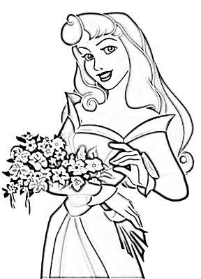 Desenho da Princesa Aurora para colorir