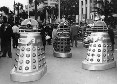 25th May 1965:  Twelve Daleks arrived in Cannes from Shepperton Studios, England, for the showing of the new 'Dr Who' movie which features at the Film Festival.  (Photo by Keystone/Getty Images)