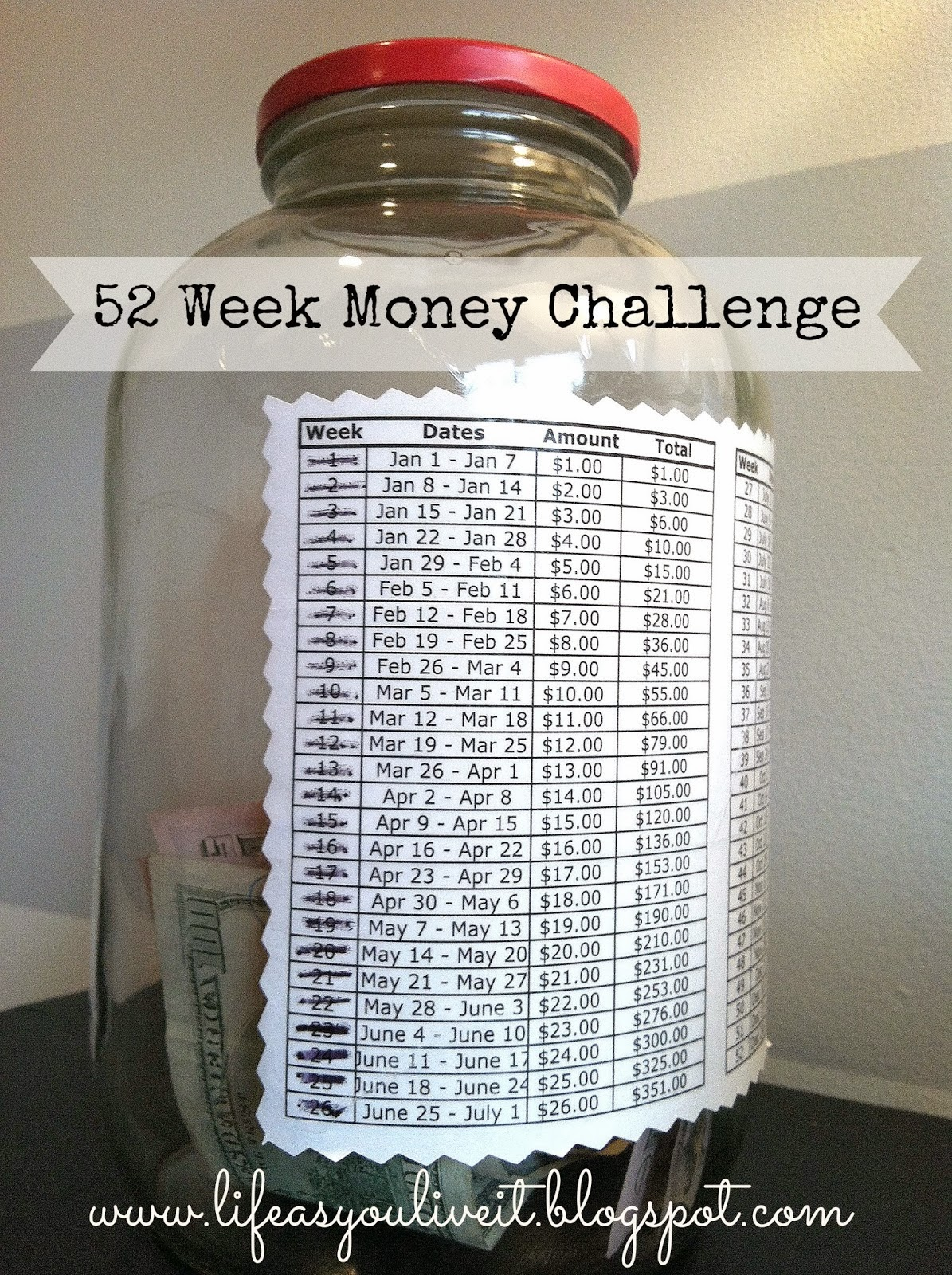 i invite you to try the 52 week money savings challenge