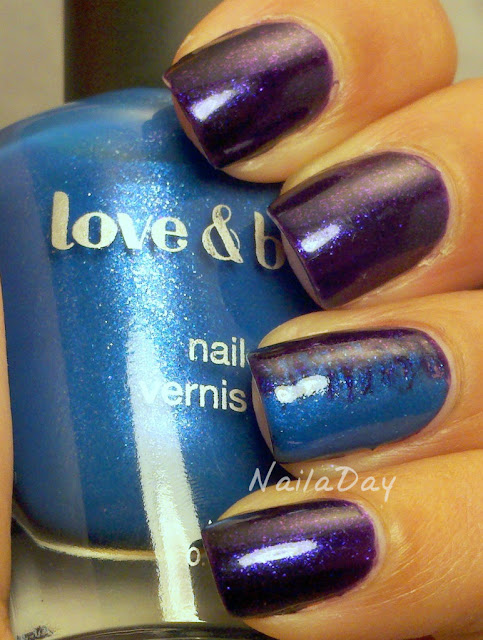 NailaDay: Love and Beauty Dark Purple with Blue accent