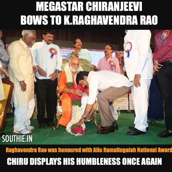 The Humble Megastar Chiranjeevi honours K.Raghavendra Rao. Chiranjeevi humbles himself after presenting the Allu Ramalingaiah national award. Megastar Chiranjeevi, Humble Megastar, Chiranjeevi