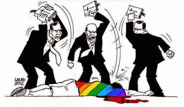 Three men beating gay man bloody with their BIbles