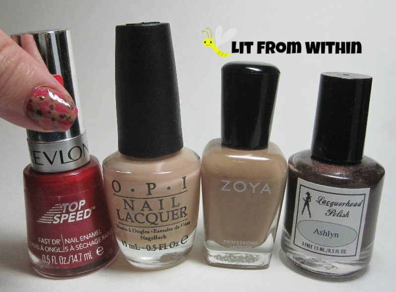Bottle shot:  Revlon Orient Express, OPI Glints of Glinda, Zoya Flynn, and Lacquerhead Polish Ashlyn