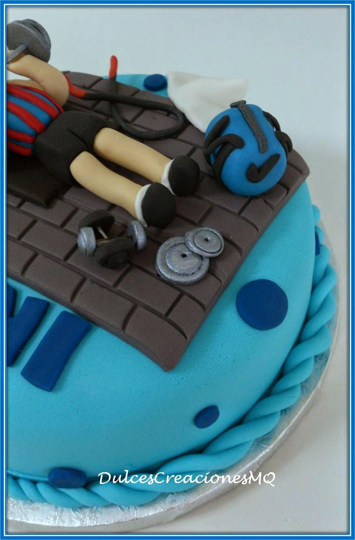 tarta gimnasio de fondant cake torta cumpleaos adulto aniversario aos deporte dulce repostera creativa barcelona