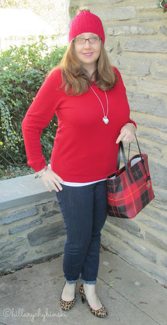 Dressy but casual outfit created around a red knit hat.